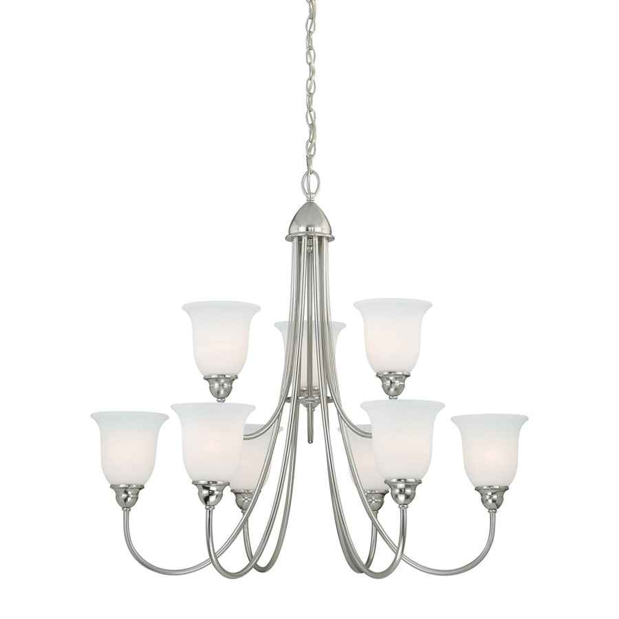 Cascadia Concord 34-in 9-Light Satin Nickel Shaded Chandelier