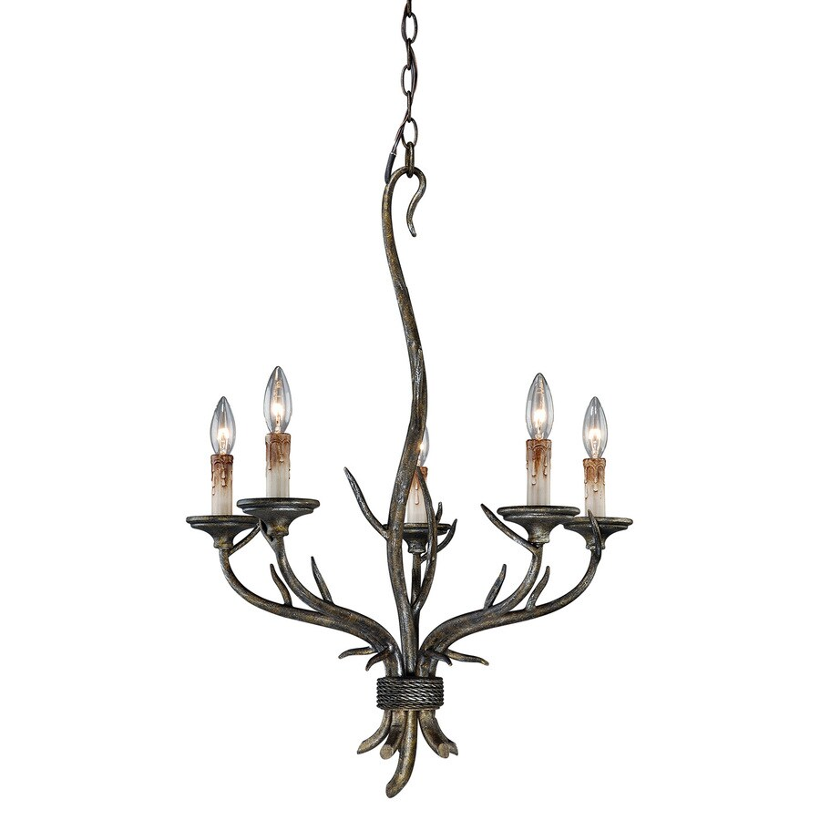 Cascadia Monterey 22-in 5-Light Autumn Patina Rustic Candle Chandelier