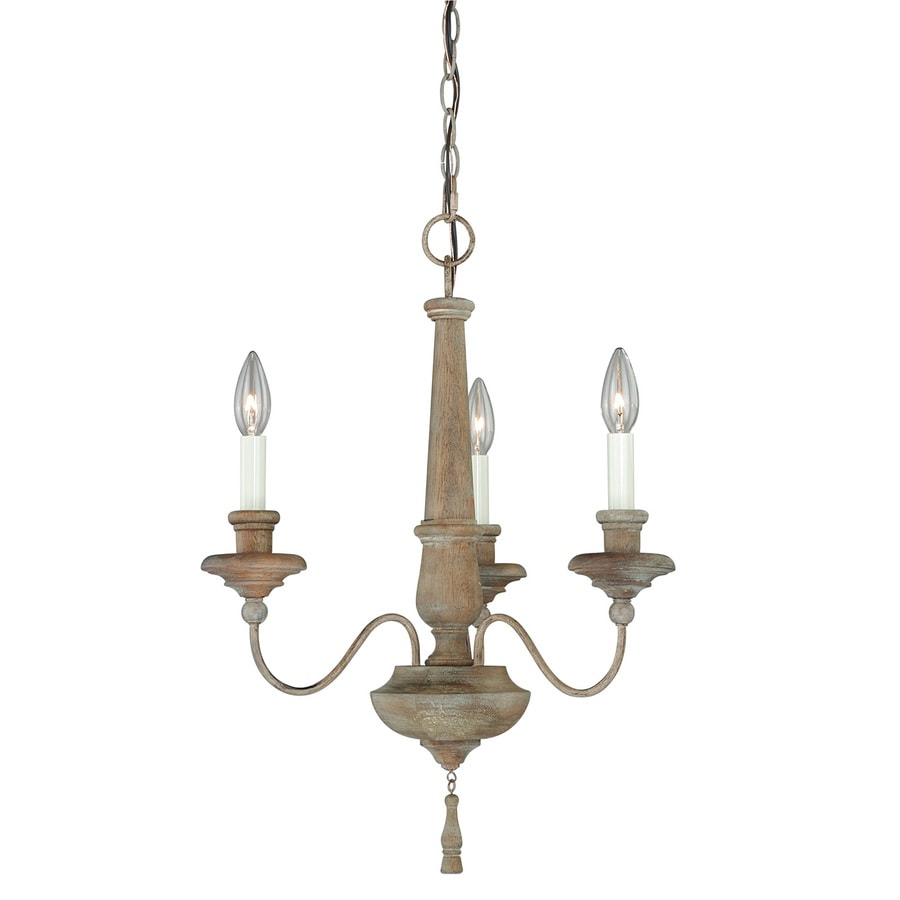 Cascadia Lucca 18.5-in 3-Light Vintage Wood Country Cottage Candle Chandelier