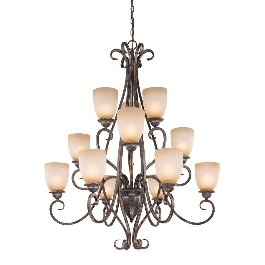 Cascadia Mont Blanc 37-in 12-Light Aztec Bronze Mediterranean Tinted Glass Tiered Chandelier