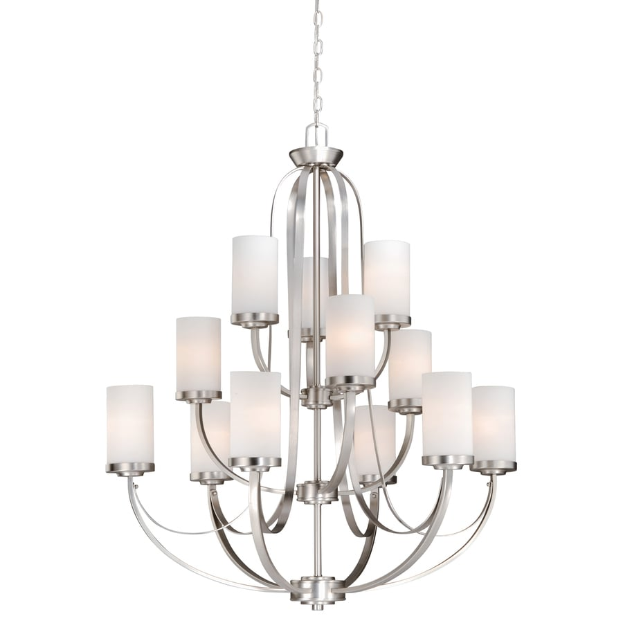 Cascadia Oxford 36.25-in 12-Light Brushed Nickel Tiered Chandelier