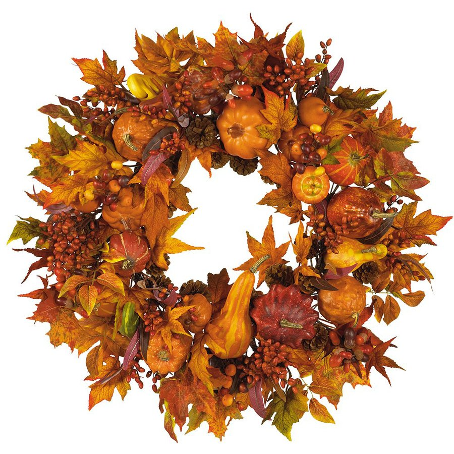 Nearly Natural 28-in Unlit Harvest Leaf Artificial Thanksgiving Wreath