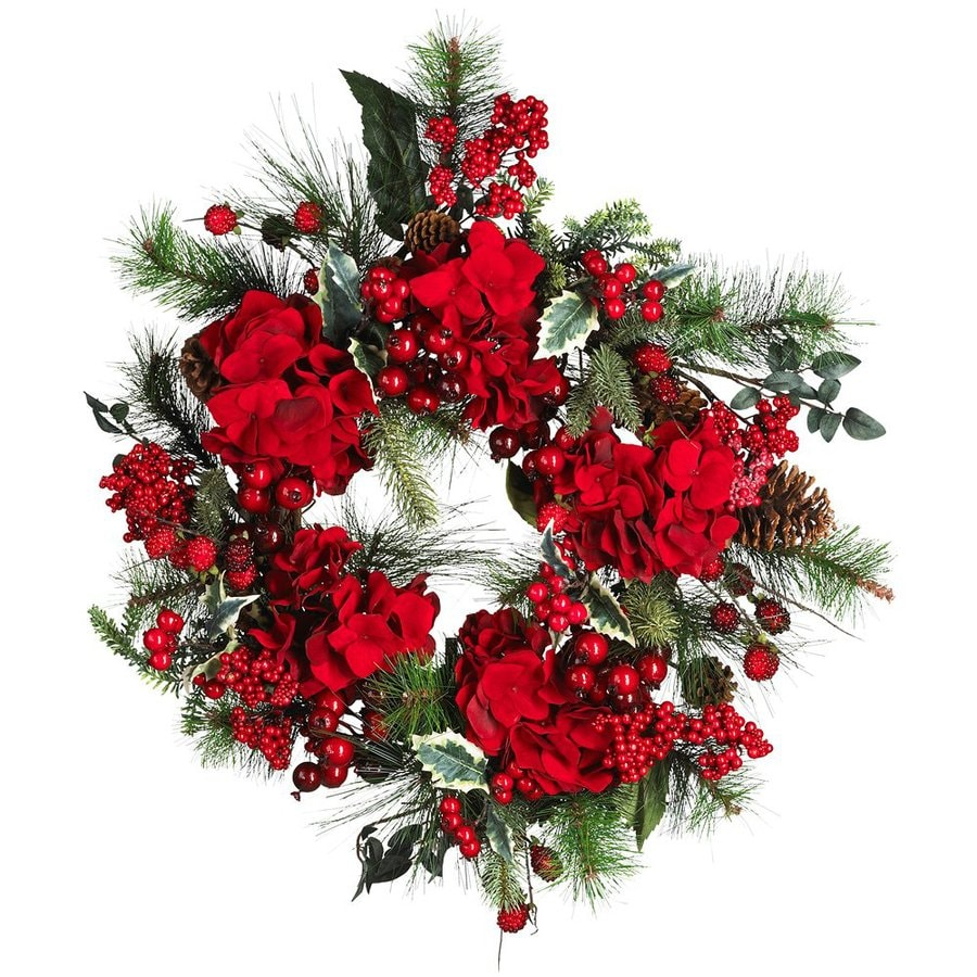 Nearly Natural 22-in Unlit Indoor Hydrangea Artificial Christmas Wreath