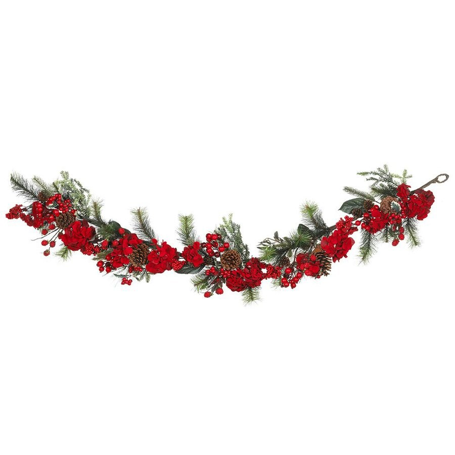 Nearly Natural Indoor Unlit 6-ft L Hydrangea Garland