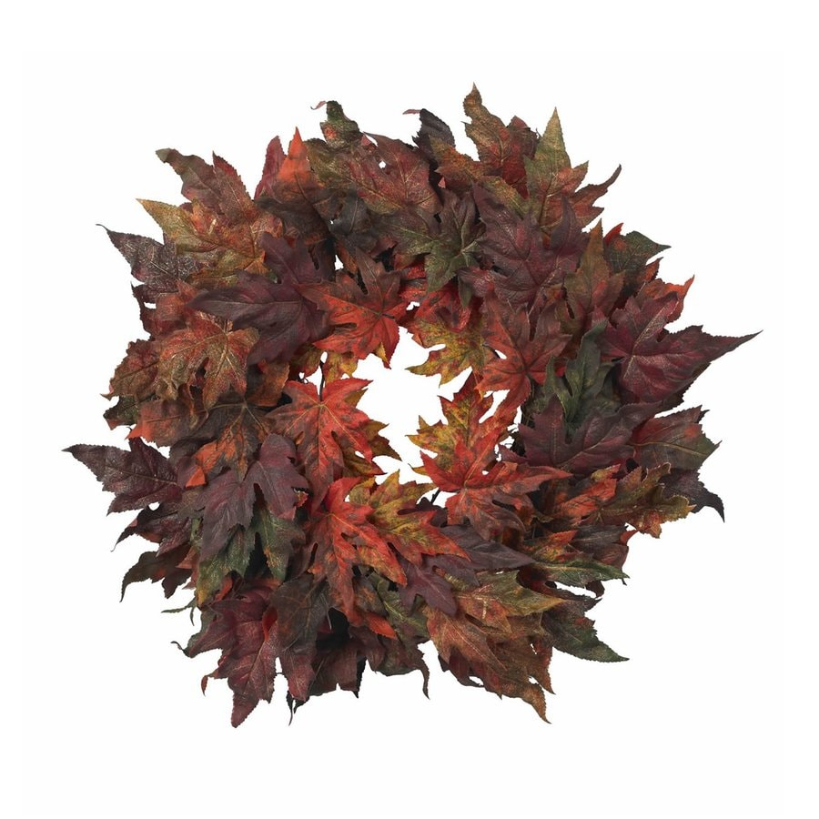 Nearly Natural 30-in Unlit Maple Leaf Artificial Thanksgiving Wreath
