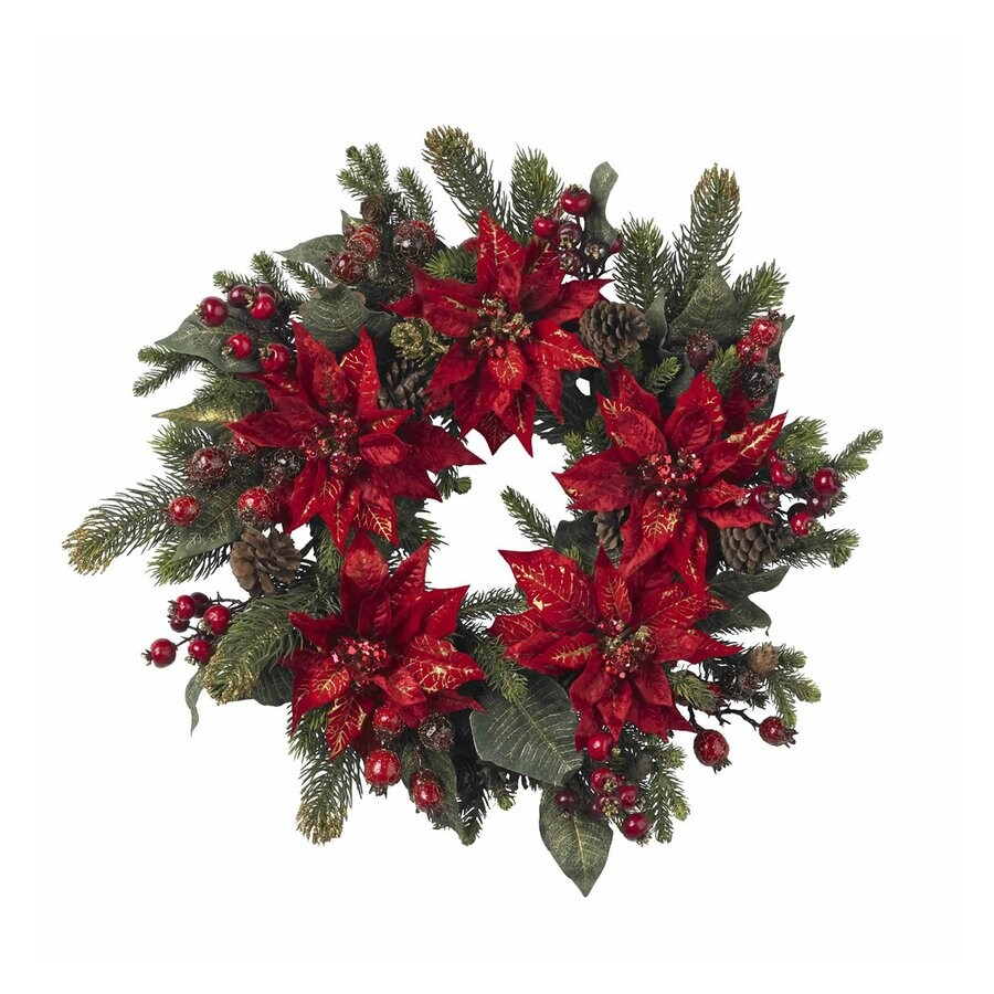 Nearly Natural 24-in Unlit Indoor Poinsettia Artificial Christmas Wreath