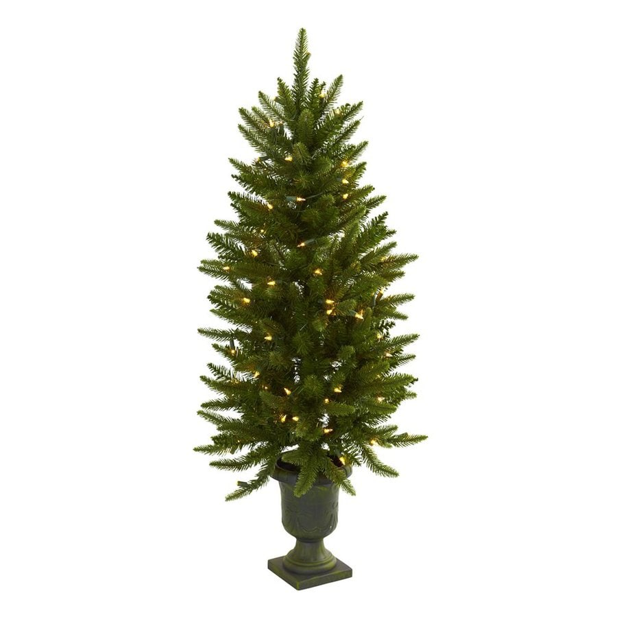 Nearly Natural 4-ft Pre-Lit Slim Artificial Christmas Tree with White Clear Incandescent Lights