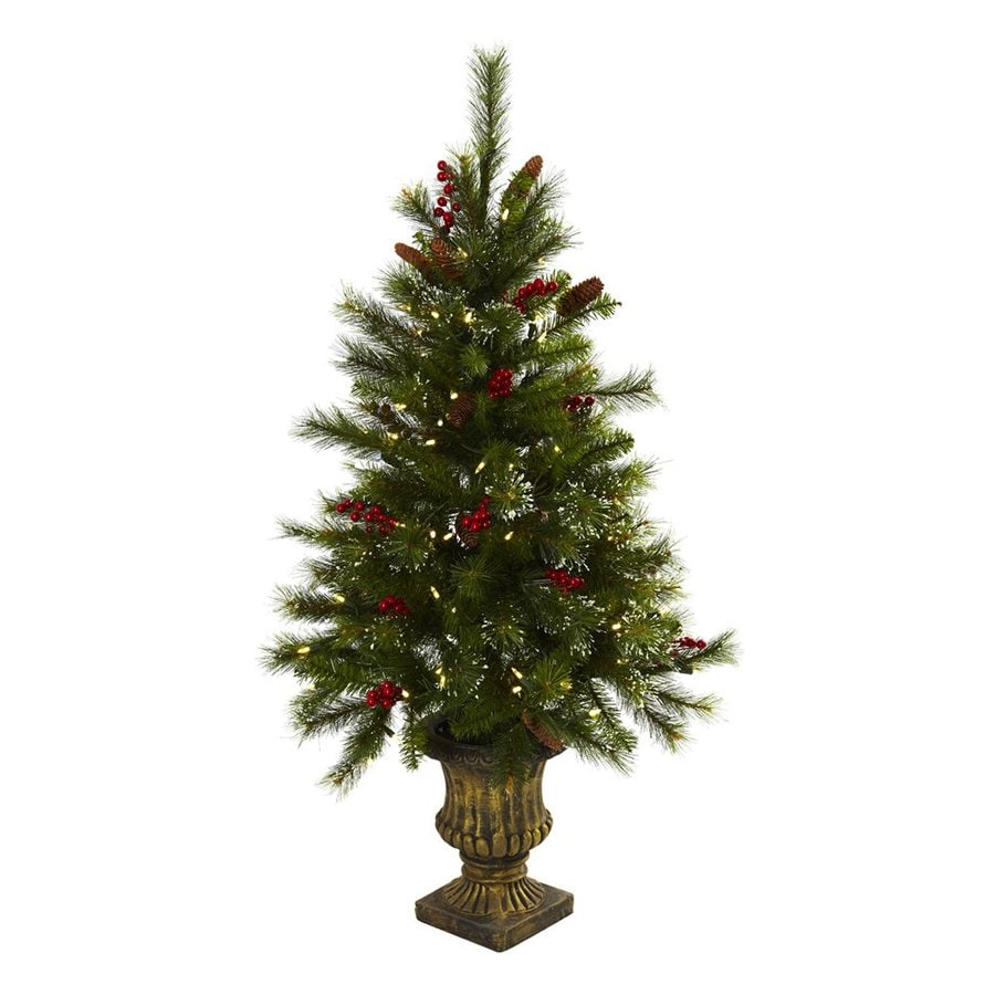 Nearly Natural 4-ft Pre-Lit Slim Artificial Christmas Tree with White Clear LED Lights