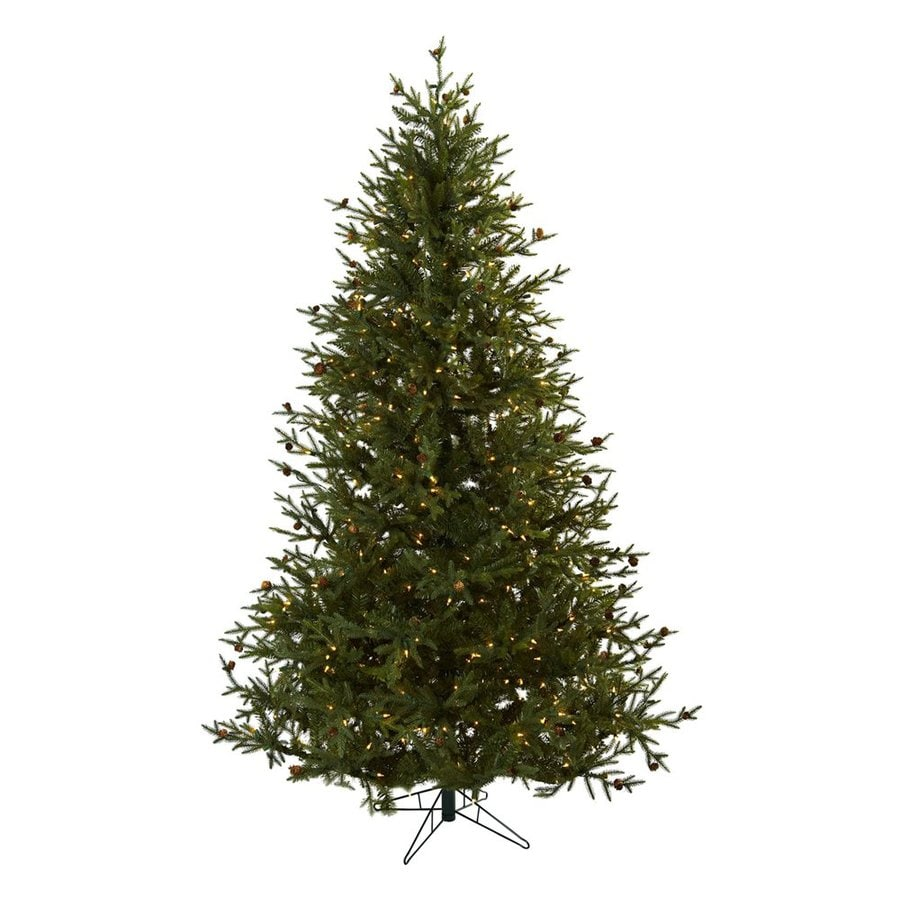 Nearly Natural Classic 7.5-ft Pre-Lit Artificial Christmas Tree with White Clear Incandescent Lights