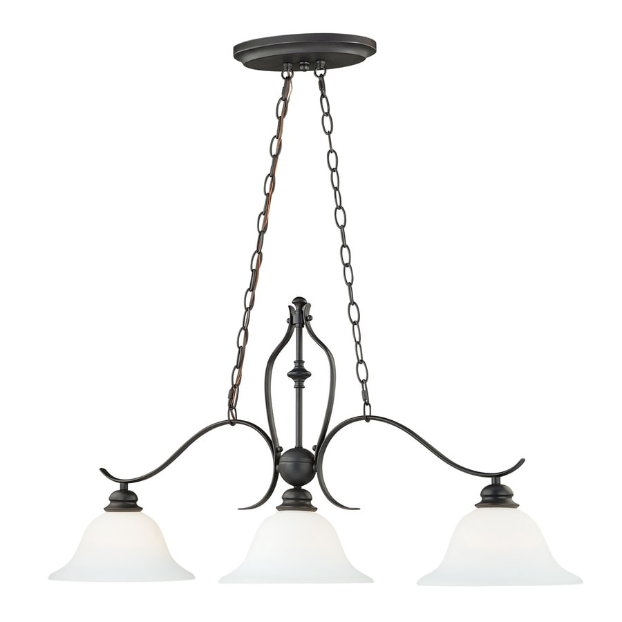 Cascadia Darby 9.75-in W 3-Light New Bronze Kitchen Island Light with White Shade