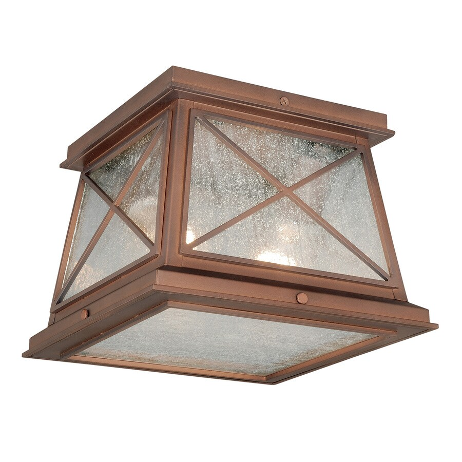 Cascadia 9-in W Antique Red Copper Outdoor Flush-Mount Light