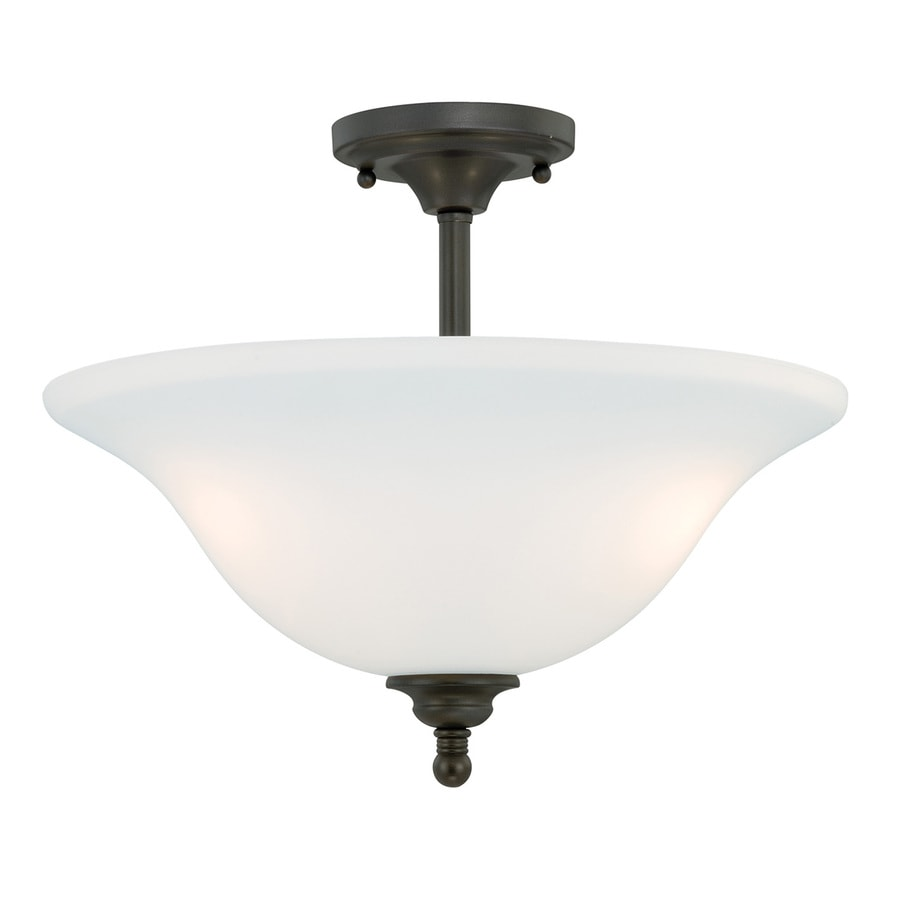 Cascadia Concord 15.75-in W Oil Rubbed Bronze Frosted Glass Semi-Flush Mount Light