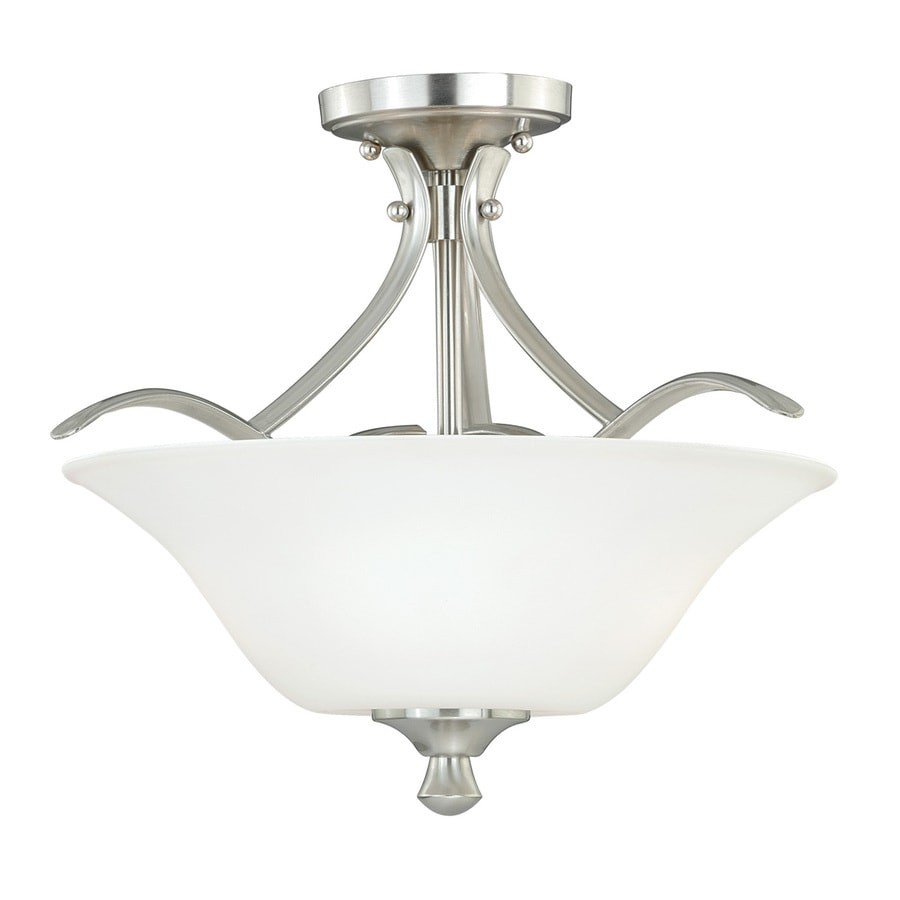 Cascadia Cordoba 13-in W Satin Nickel Frosted Glass Semi-Flush Mount Light