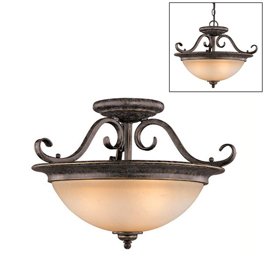 Cascadia Mont Blanc 18.5-in W Aztec Bronze Tea-Stained Glass Semi-Flush Mount Light