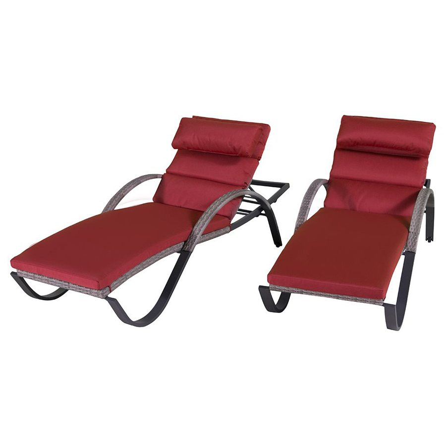 RST Brands Cannes 2-Count Wicker Stackable Patio Chaise Lounge Chairs