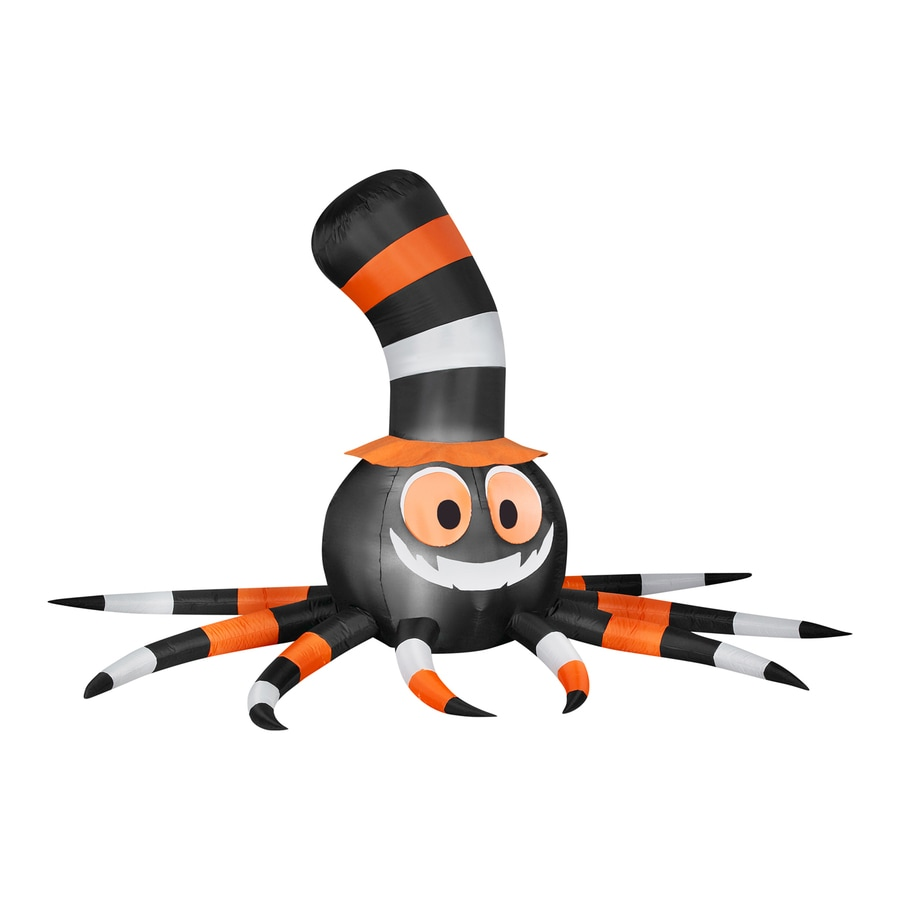 Gemmy Spider with Stove-Pipe Hat 5.58-ft x 9.51-ft Lighted Spider Halloween Inflatable