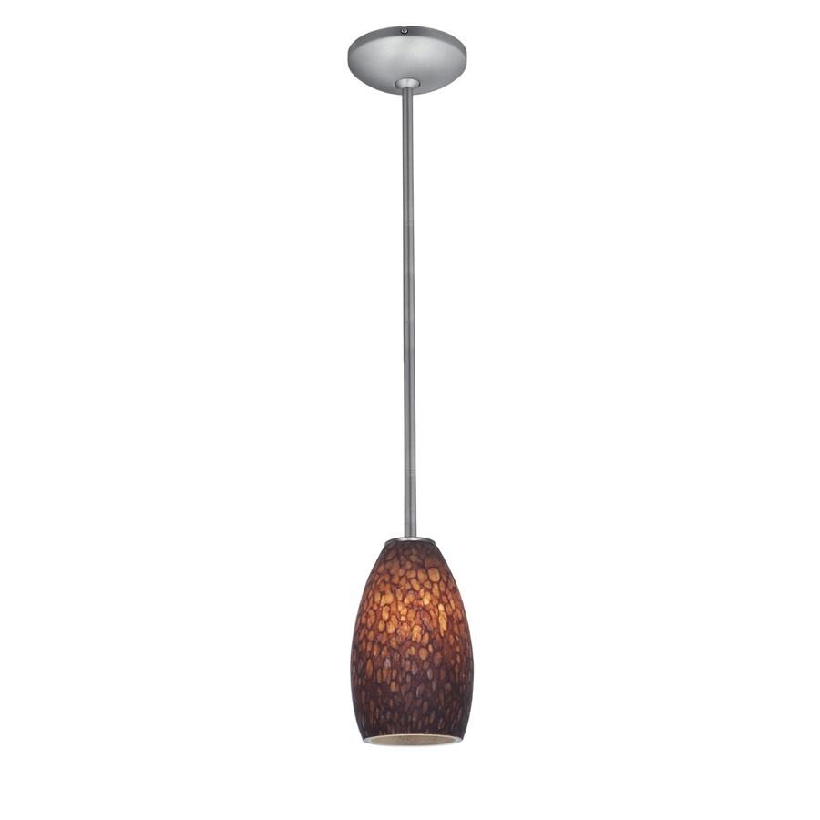 Access Lighting Inari Silk 5-in Brushed Steel Mini Art Glass Teardrop Pendant