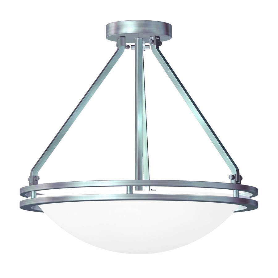 Access Lighting Aztec 17-in W Brushed Steel Frosted Glass Semi-Flush Mount Light