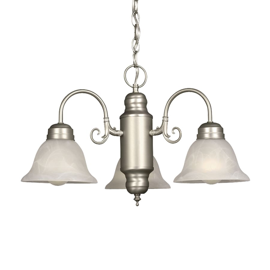 Galaxy Sarita 22-in 3-Light Pewter Country Cottage Marbleized Glass Shaded Chandelier