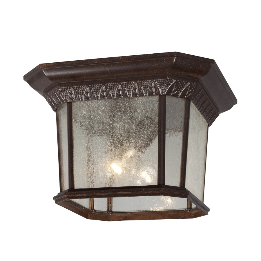 Galaxy 13-in W Bronze Outdoor Flush-Mount Light