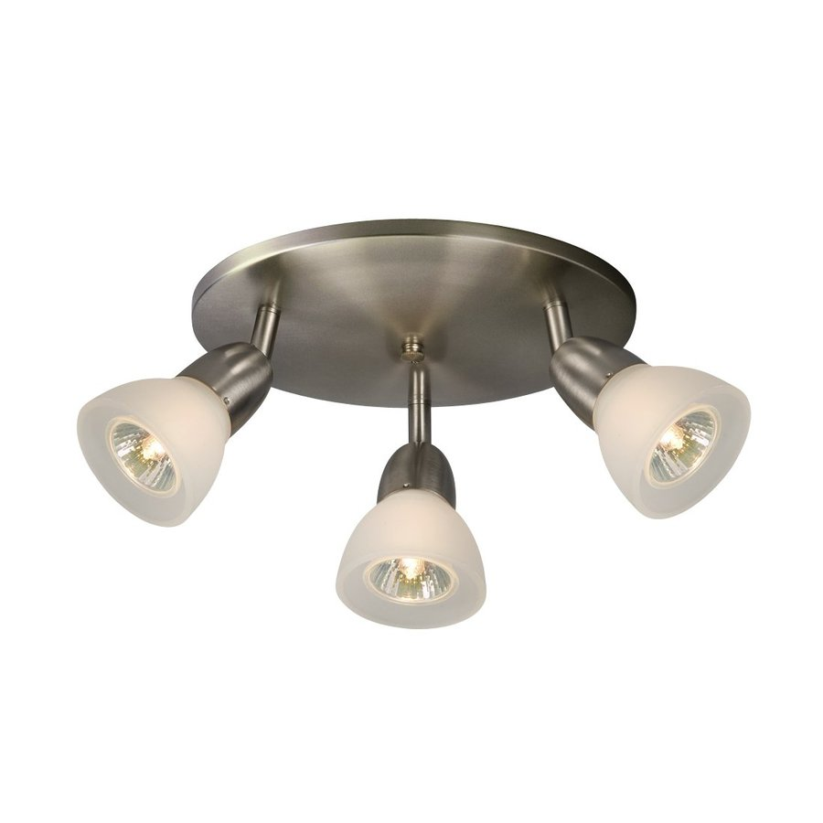 Galaxy Luna 3-Light 10-in Brushed Nickel Flush Mount Fixed Track Light Kit