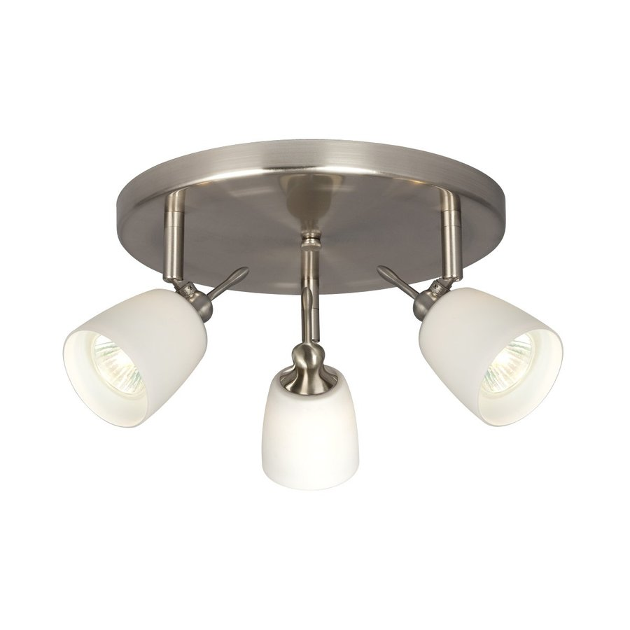 Galaxy 3-Light 10.125-in Brushed Nickel Flush Mount Fixed Track Light Kit