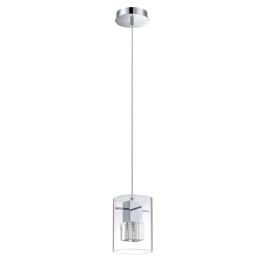 Kendal Lighting 4.75-in Chrome Industrial Mini Clear Glass Rectangle Pendant