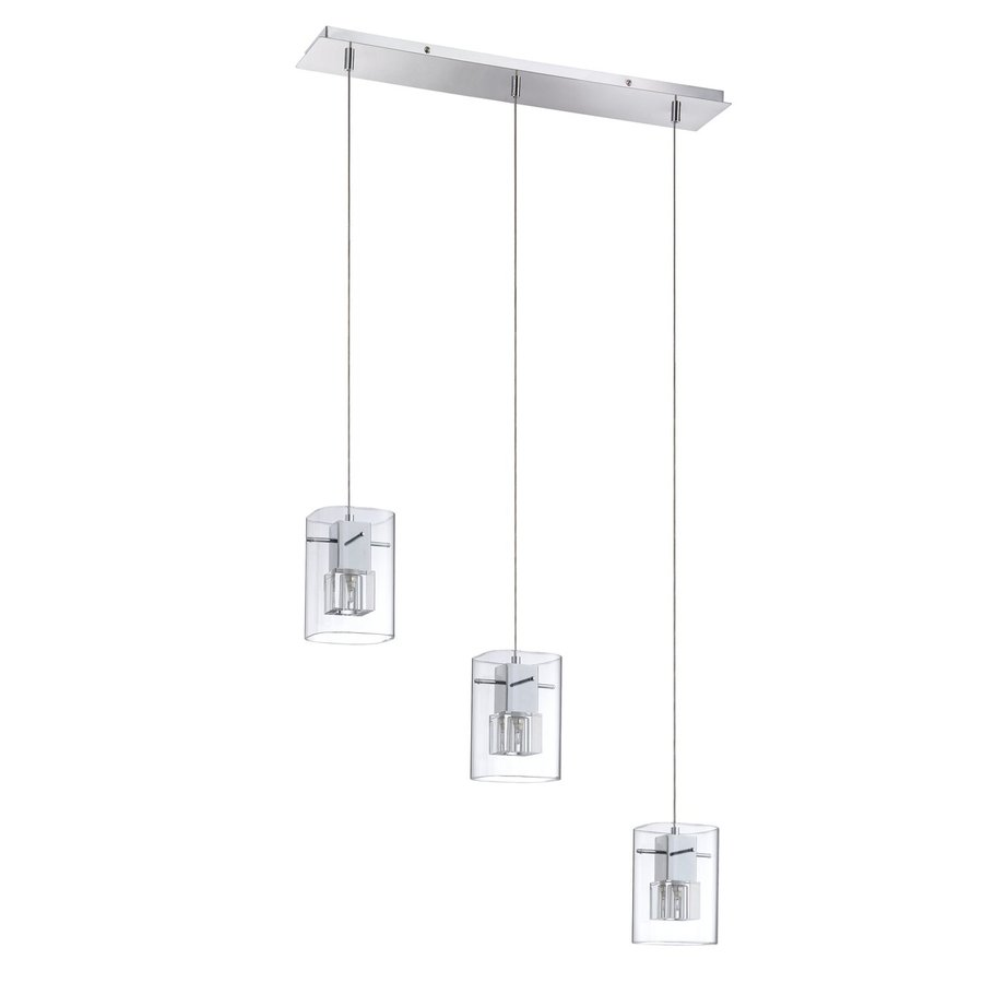 Kendal Lighting 24.5-in Chrome Industrial Multi-Light Clear Glass Rectangle Pendant