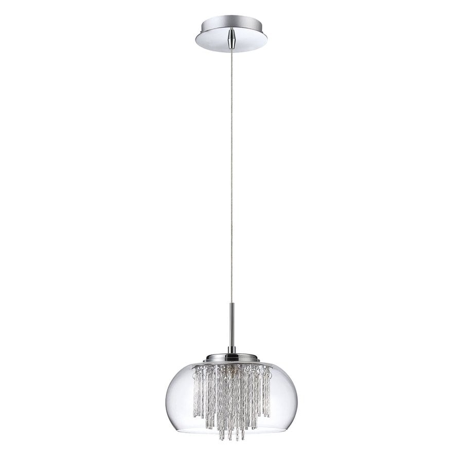 Kendal Lighting 9-in Chrome Crystal Mini Clear Glass Dome Pendant