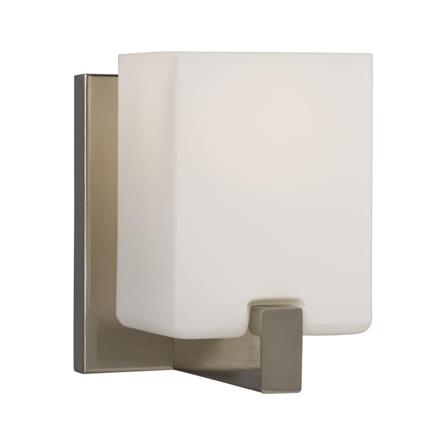 Galaxy 1-Light Cubic Brushed Nickel Standard Bathroom Vanity Light