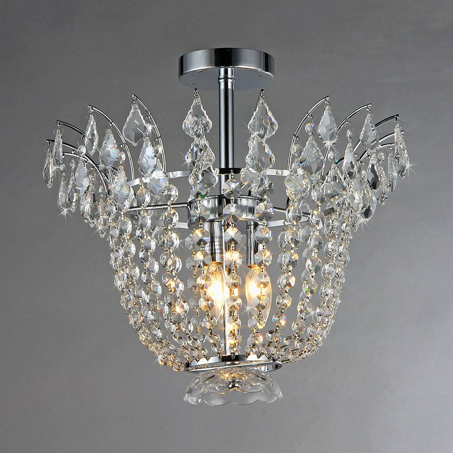 Warehouse of Tiffany Crystal 18-in W Chrome Semi-Flush Mount Light