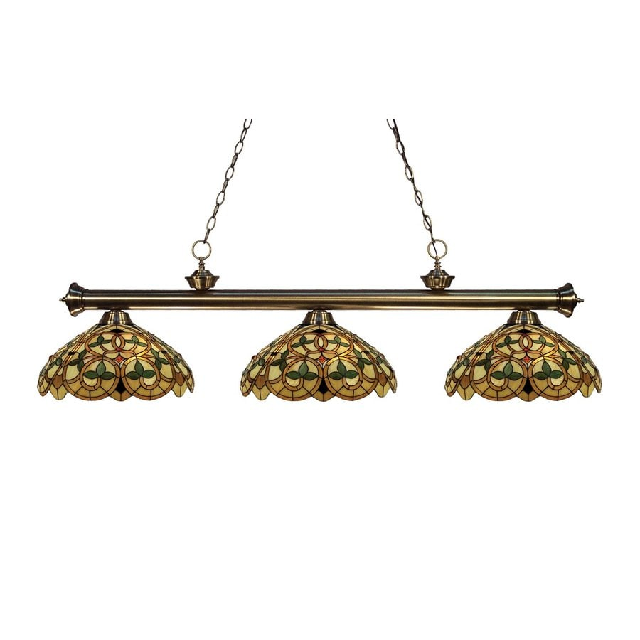Z-Lite Riviera 14-in W 3-Light Antique Brass Kitchen Island Light with Tiffany-Style Shade