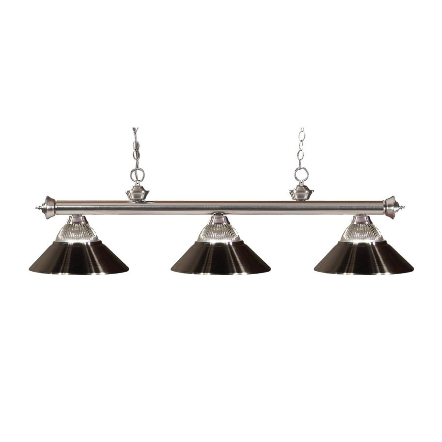 Z-Lite Riviera 14-in W 3-Light Brushed Nickel Kitchen Island Light with Ribbed Shade