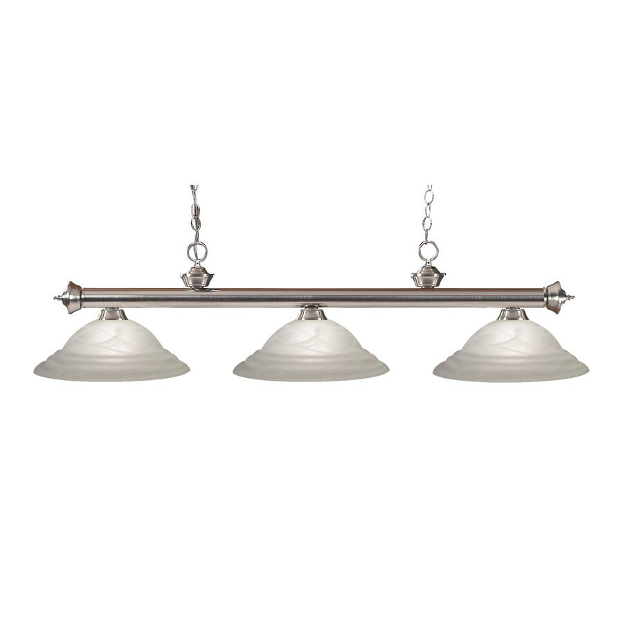 Z-Lite Riviera 16-in W 3-Light Brushed Nickel Kitchen Island Light with Ribbed Shade