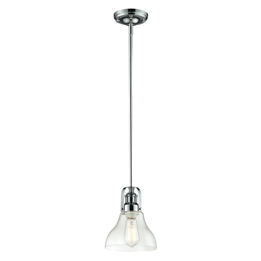 Z-Lite Forge 7.5-in Chrome Industrial Mini Clear Glass Bell Pendant