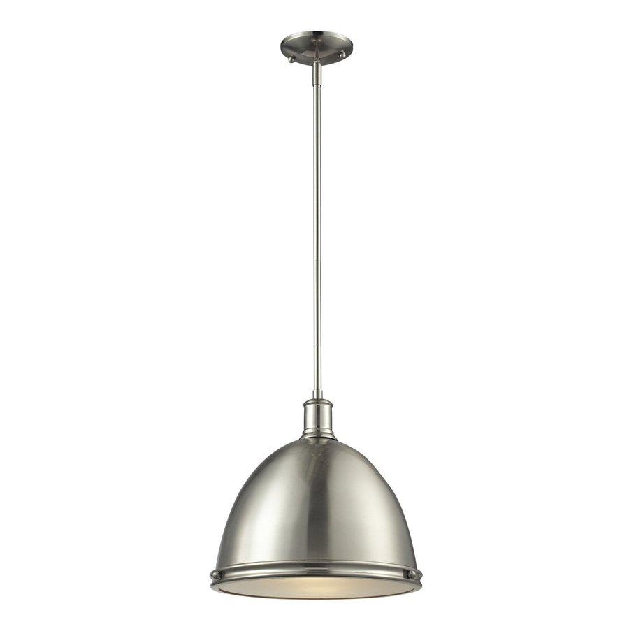Z-Lite Mason 13-in Brushed Nickel Industrial Single Dome Pendant