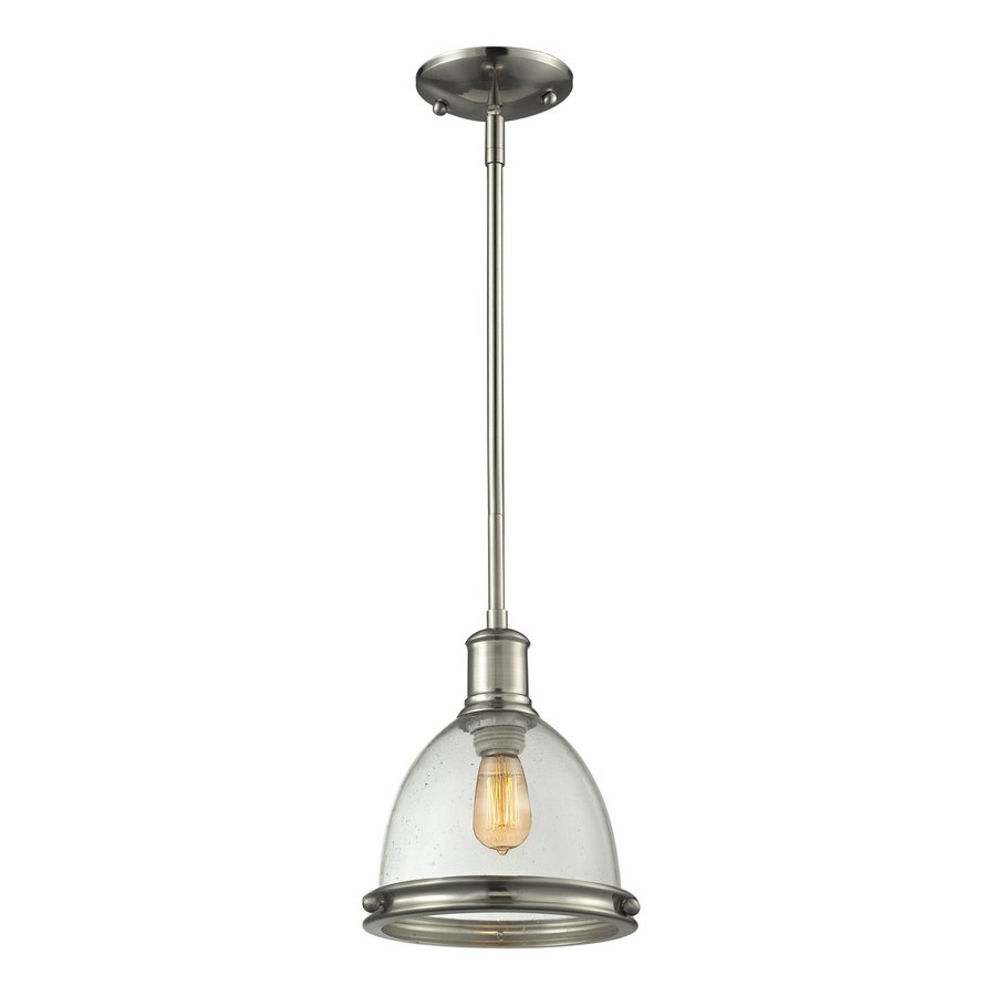 Shop Z-Lite Mason 8-in Brushed Nickel Industrial Mini Seeded Glass Dome Pendant at Lowes.com