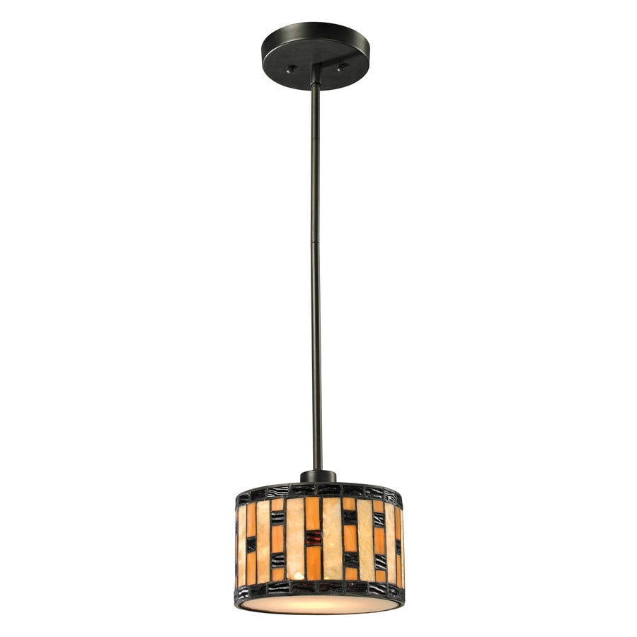 Z-Lite Raya 8-in Java Bronze Craftsman Mini Stained Glass Drum Pendant
