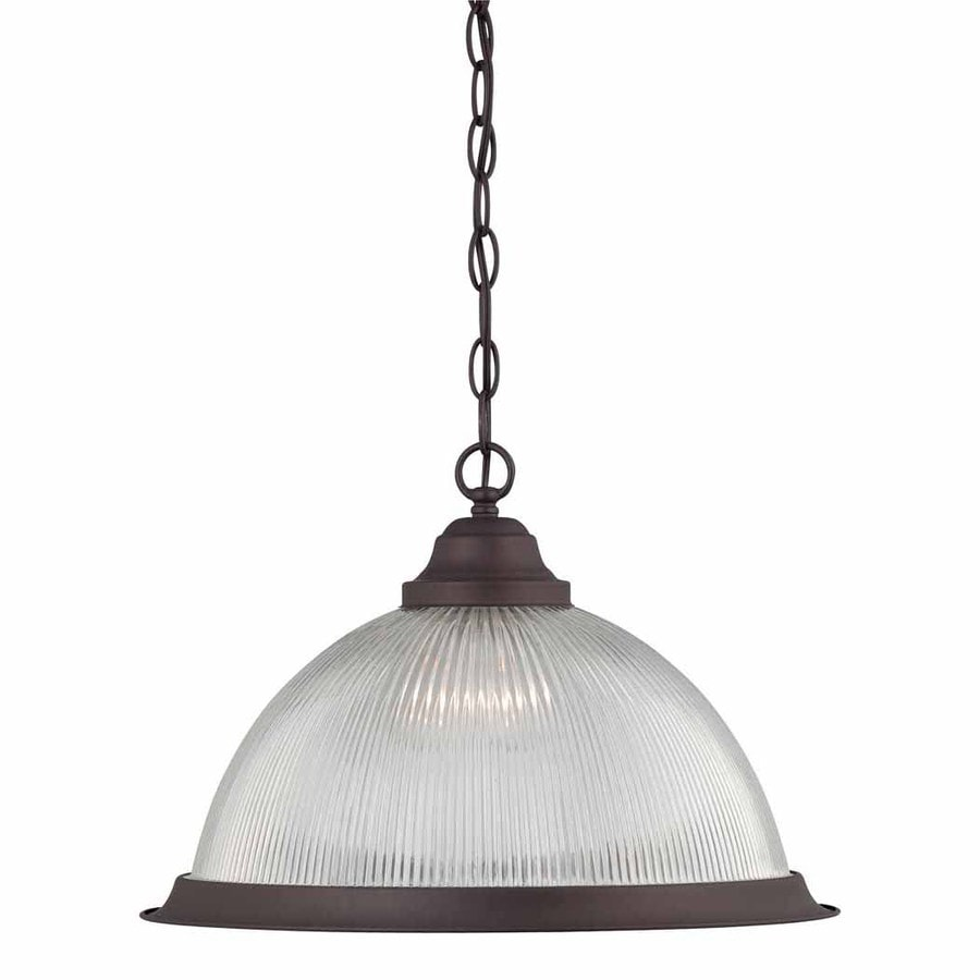 Volume International Roth 17-in Antique Bronze Vintage Single Ribbed Glass Dome Pendant
