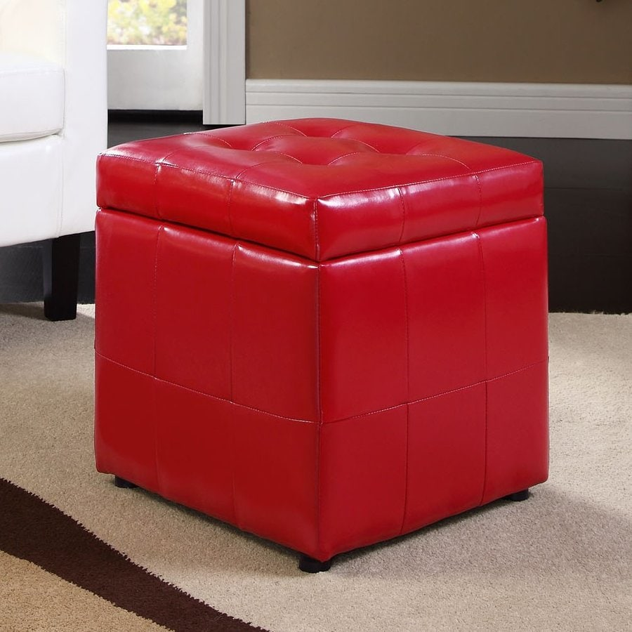 Shop Modway Volt Red Square Storage Ottoman At