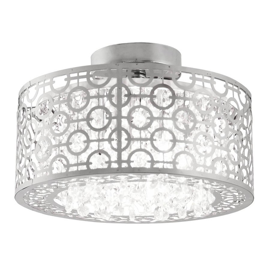 DVI Eclipse 16-in W Chrome Crystal Crystal Accent Semi-Flush Mount Light