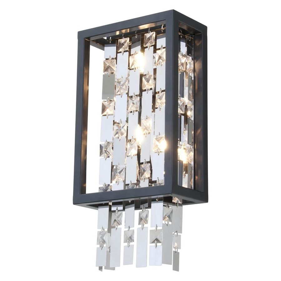 DVI 8-in W 1-Light Graphite Crystal Accent Pocket Wall Sconce