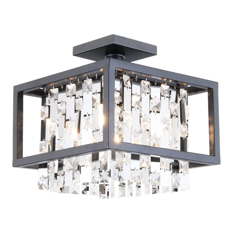 DVI Eclipse 12-in W Graphite Crystal Crystal Accent Semi-Flush Mount Light