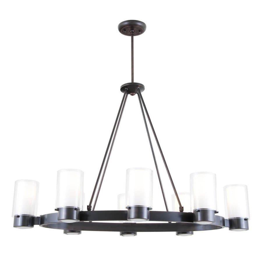 DVI Essex 38.5-in 8-Light Oil Rubbed Bronze Craftsman Shaded Chandelier