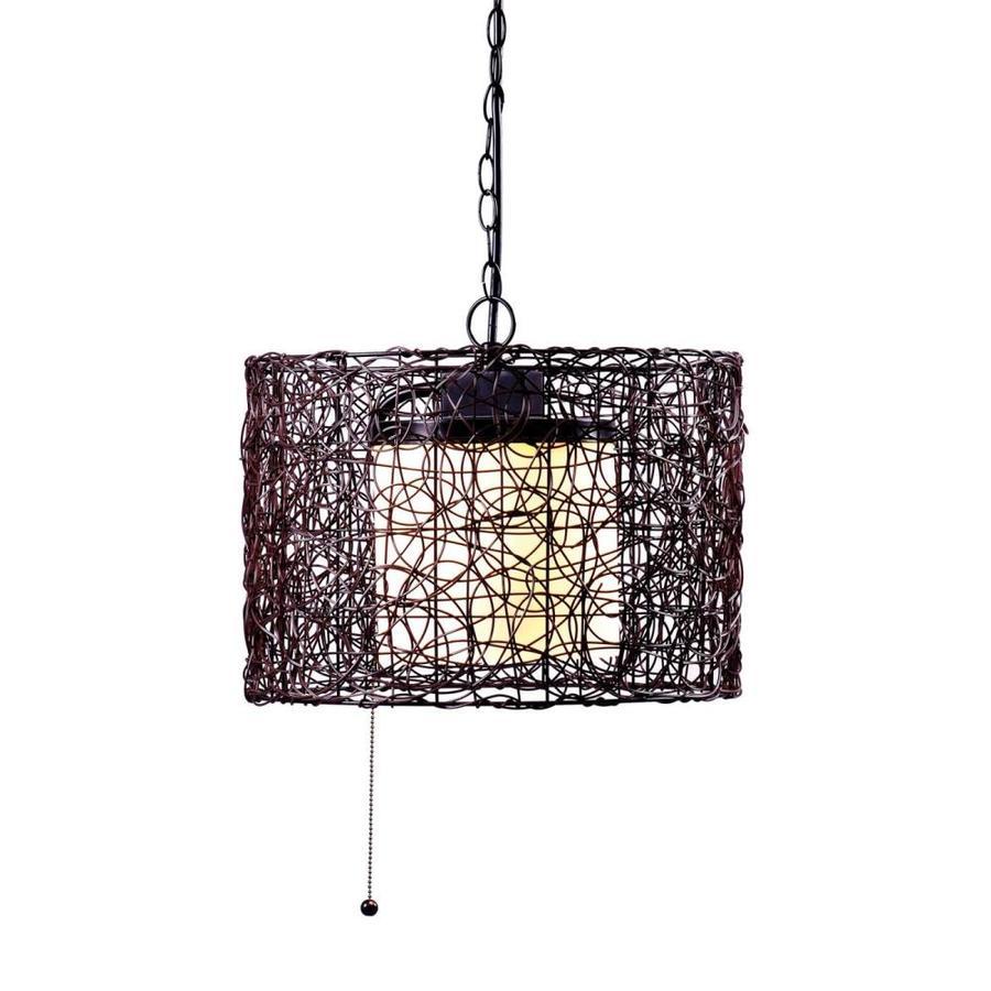 Kenroy Home Tanglewood 13-in H Black Outdoor Pendant Light
