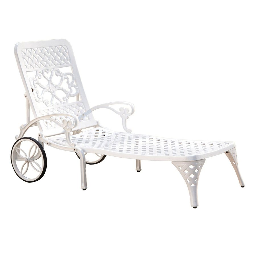 White aluminum patio chaise modern patio outdoor for Allen roth tenbrook extruded aluminum patio chaise lounge
