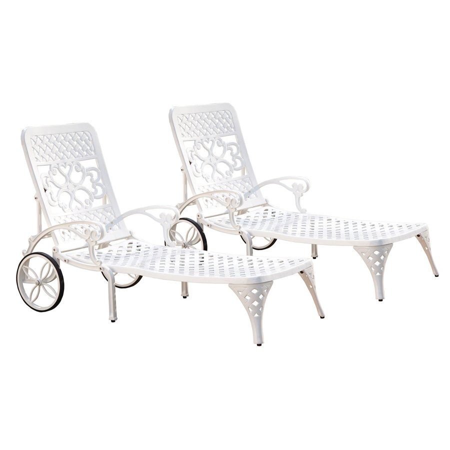 Home Styles Biscayne 2-Count White Aluminum Patio Chaise Lounge Chairs
