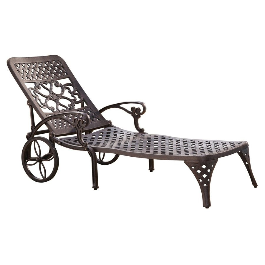 Shop home styles biscayne bronze aluminum patio chaise for Chaise aluminium