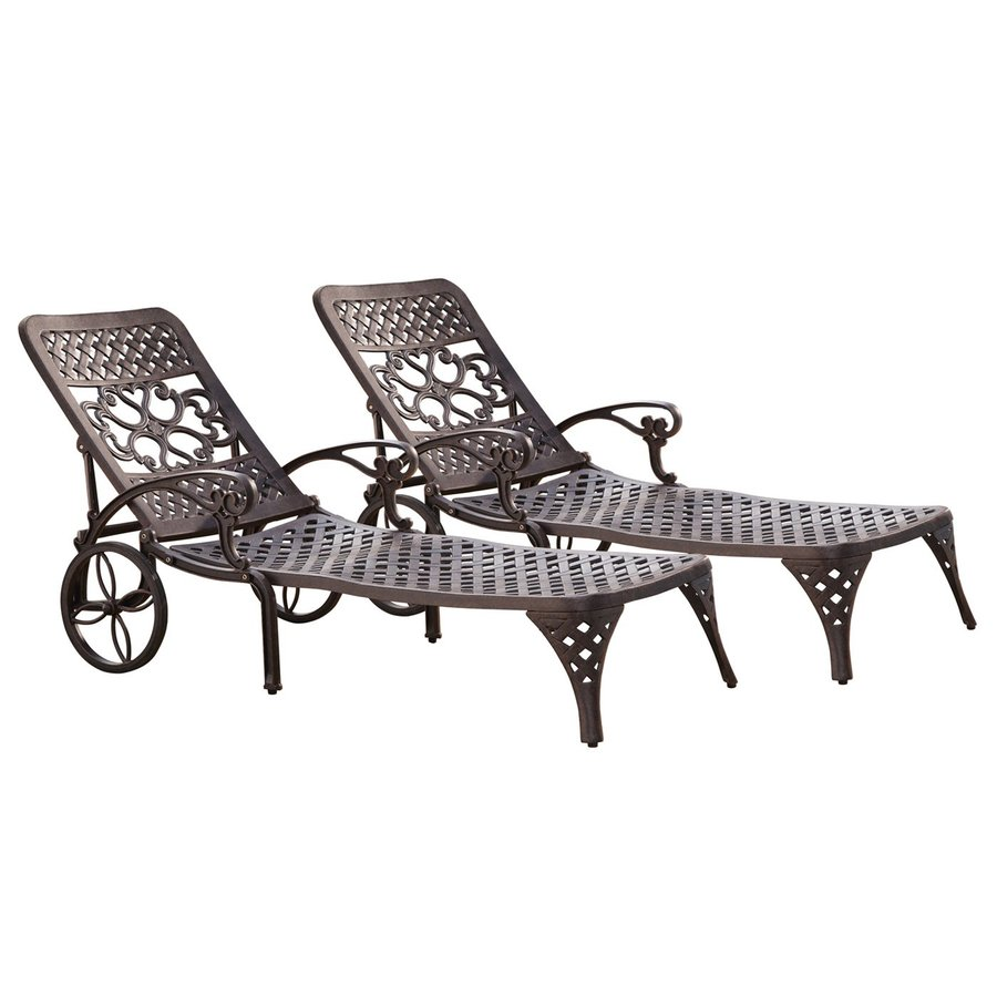 Home Styles Biscayne 2-Count Bronze Aluminum Patio Chaise Lounge Chairs