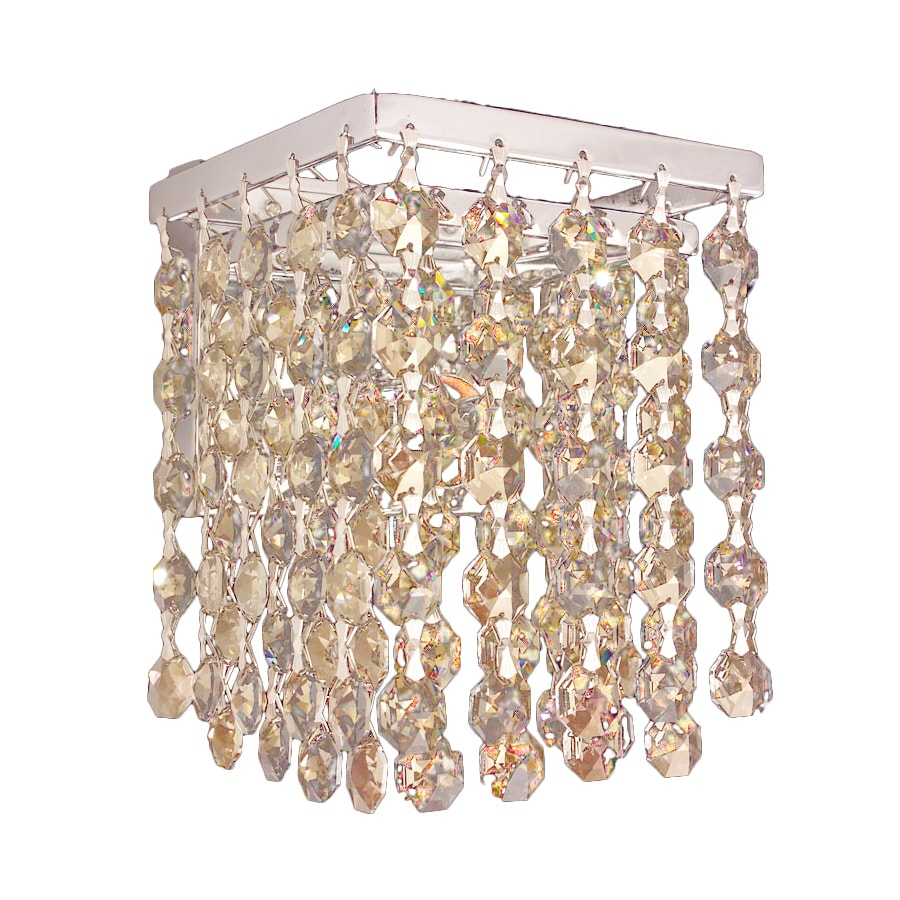 Classic Lighting Bedazzle 4.5-in W 1-Light Chrome Crystal Pocket Hardwired Wall Sconce